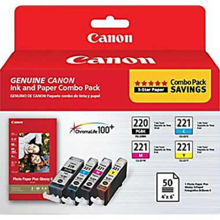 Canon PGI-220 and CLI-221 Ink and 4x6 Paper Combo Pack