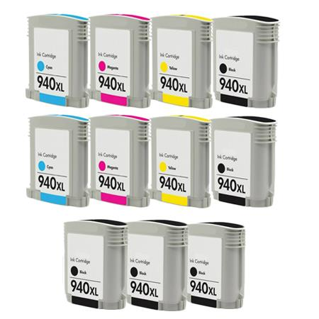 940XLBK/C/M/Y 2 Full Sets + 3 EXTRA Black Remanufactured Inks