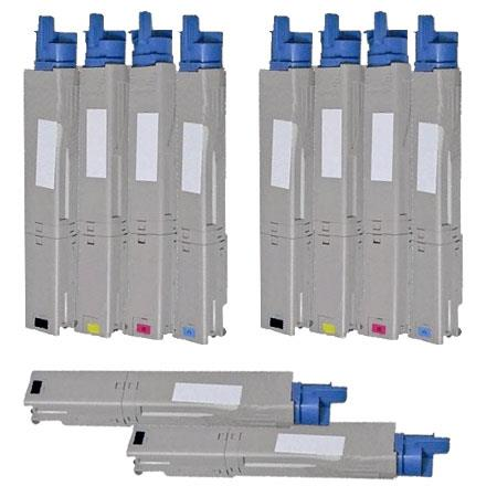 Compatible Multipack Okidata 43459301/02/03/04 2 Full Sets + 2 EXTRA Black Toner Cartridges