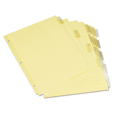 Universal Insertable Index  Clear Tabs  Five-Tab  Letter  Buff  6 Sets/Pack