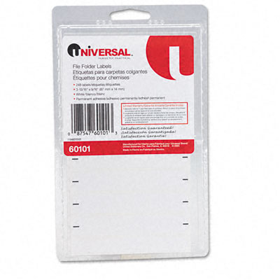Universal File Folder Labels for Typewriters 3-13/16 x 9/16 White 248 per Pack