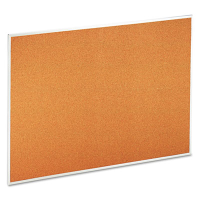 Universal Bulletin Board  Natural Cork  48 x 36  Satin-Finished Aluminum Frame