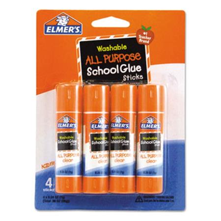 Elmers Washable School Glue Sticks .24oz Repositionable Stick Four per Pack