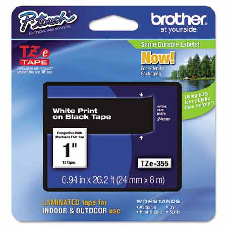 Brother TZe355 Original P-Touch Label Tape - 1 x 26.2 ft (24mm x 8m) White on Black