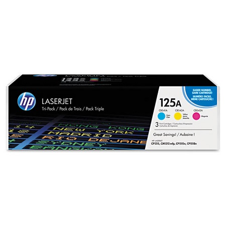HP 125A Cyan/Yellow/Magenta Original Toner Cartridges (3 Pack)
