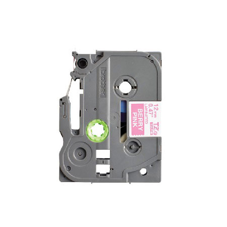 Brother TZeMQP35 Original P-Touch Label Tape - 1/2 x 16.4 ft (12mm x 5m) White on Berry Pink
