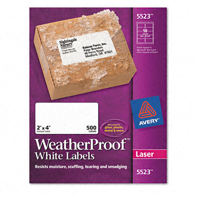 White Weatherproof Laser Shipping Labels  2 x 4  500/Pack