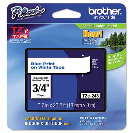 Brother TZe243 Original P-Touch Label Tape - 3/4 x 26.2 ft (18mm x 8m) Blue on White