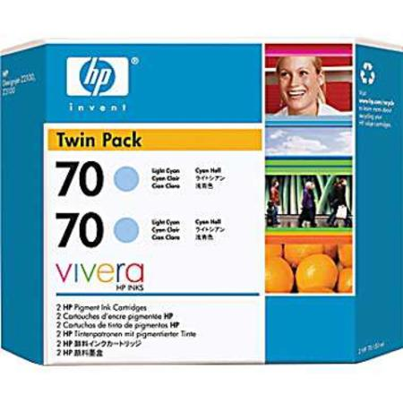 HP 70 (CB351A) Original Light Cyan Ink Cartridge (Twin Pack)