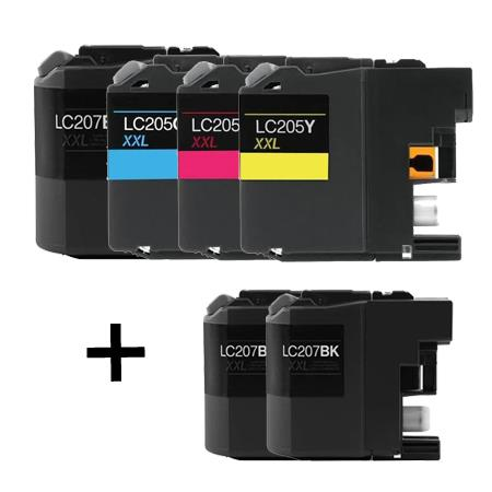 Clickinks LC207BK/LC205C/M/Y Full Set + 2 EXTRA Black Compatible Inks