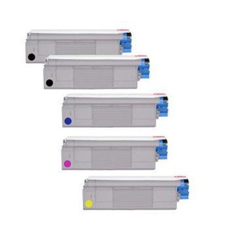 43381901/02/03/04 Full Set + 1 EXTRA Black Remanufactured Toner Cartridge