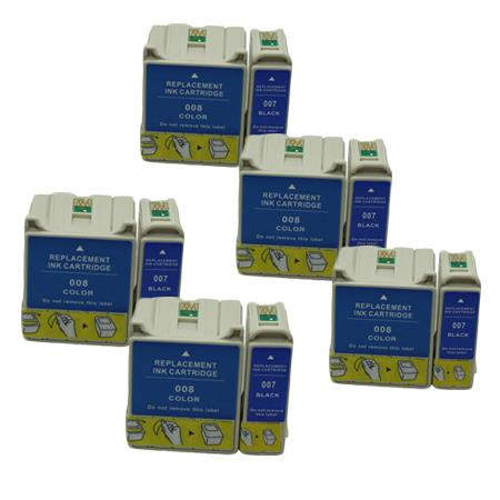 Compatible Multipack Epson T007/T008 5 Full Sets Ink Cartridges
