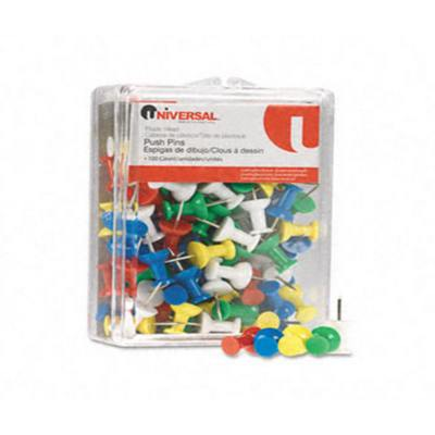 Universal Colored Push Pins  Plastic  Rainbow  3/8Inch  100/Pack