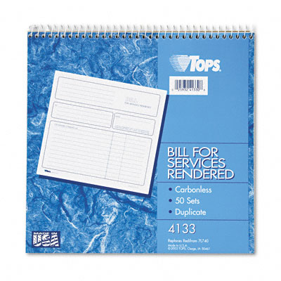 Tops Bill for Services Rendered Form