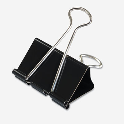 Large Binder Clips  Steel Wire  1Inch Capacity  2Inch Wide  Black/Silver  Dozen