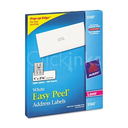 Easy Peel Laser Address Labels  1-1/3 x 4  White  1400/Box