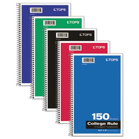 TOPS Wirebound 3-Subject Notebook College Rule 9-1/2 x 6 White 150 Sheets/Pad