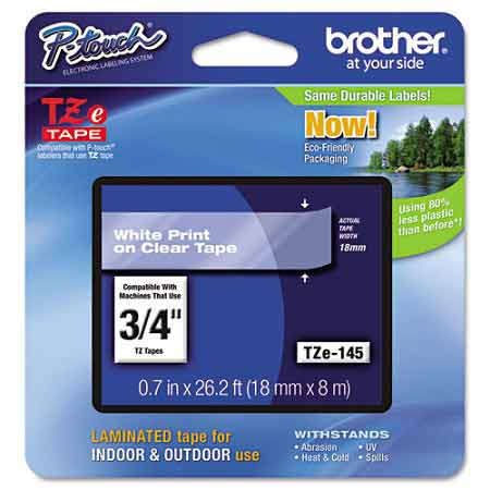 Brother TZe145 Original P-Touch Label Tape - 3/4 x 26.2 ft (18mm x 8m) White on Clear