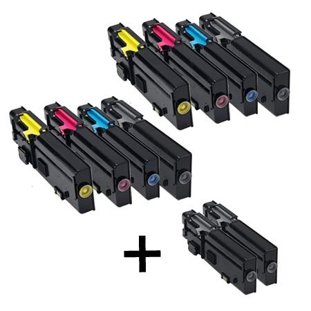 Clickinks 593-BBBU/593-BBBT/S/R 2 Full Set + 2 EXTRA Remanufactured Toners