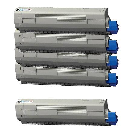 44844509/10/11/12 Full Set + 1 EXTRA Black Remanufactured Toner Cartridge