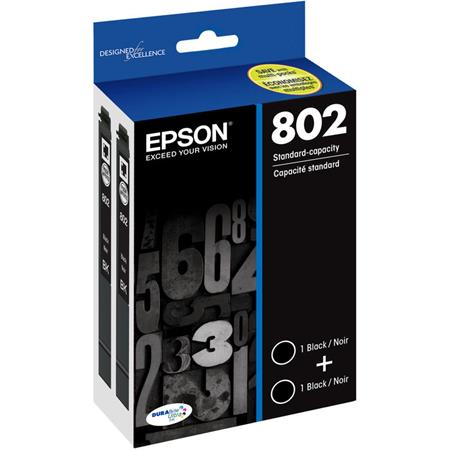 Epson T802 Black Original Standard Capacity Ink Cartridge 2 Pack