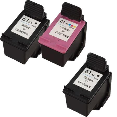 Clickinks 61XL Full set + 1 EXTRA Black Remanufactured Inks