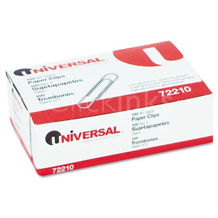 Universal Paper Clips  Smooth Finish  No. 1  Silver  100/Box