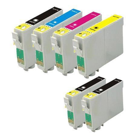 T0601/604 Full set + 2 EXTRA Black Remanufactured Inks