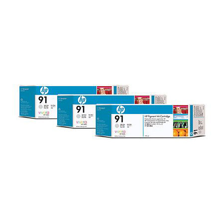 HP 91 (C9482A) Original Light Gray Ink Cartridge (3 Pack)
