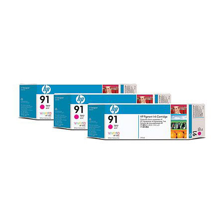 HP 91 (C9484A) Original Magenta Ink Cartridge (3 Pack)