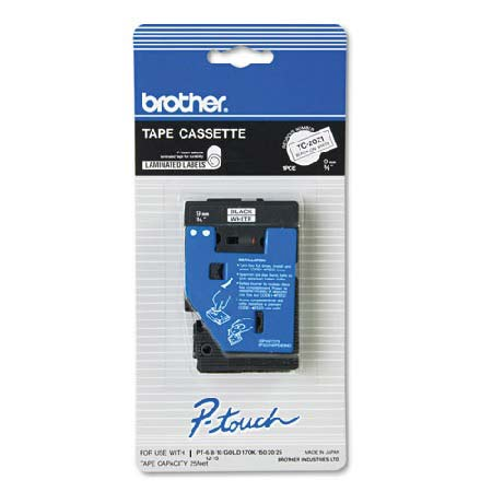 Brother TC20Z1 Original P-Touch Label Tape - 3/8 x 25.2 ft (9mm x 7.7m) Black on White