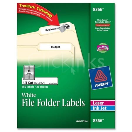 Avery Permanent Self-Adhesive Laser/Inkjet File Folder Labels  White  1500/Box