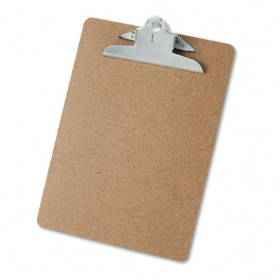 Universal Hardboard Clipboard  1-1/4Inch Capacity  Holds 8-1/2 x 11  Brown