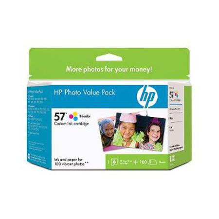 HP 57 (Q7926AN) Series Ink Cartridge Photo Value Pack w/100 Glossy 4 x 6 Sheets