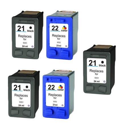 Compatible Multipack HP 21/22 2 Full set + 1 EXTRA Black Ink Cartridges