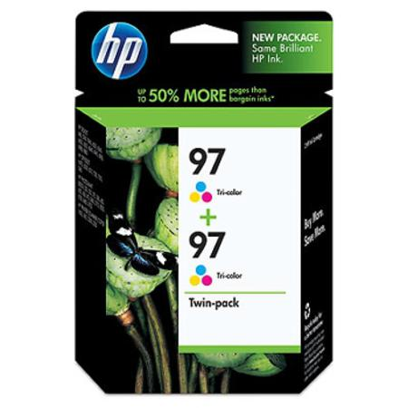 HP 97 Twinpack Tri-Color Original High Capacity Inkjet Print Cartridge with Vivera Inks (C9349FN)
