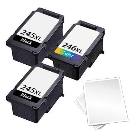 PG-245XL/CL-246XL Full Set + 1 EXTRA Black Remanufactured High Capacity Ink Cartridges +Free paper