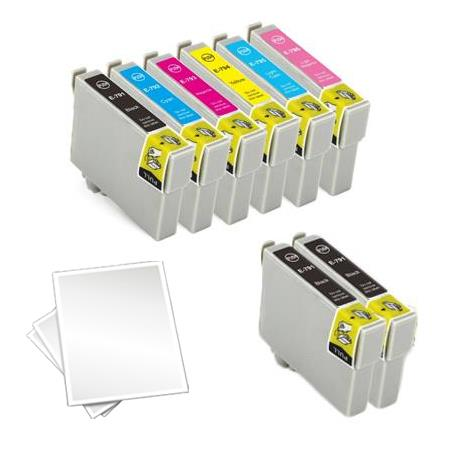 T0981/986 Full Set + 2 EXTRA Black Remanufactured Inks