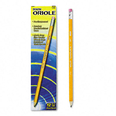 Oriole Woodcase Pre-Sharpened Pencil  HB #2  Yellow Barrel  12/Pack
