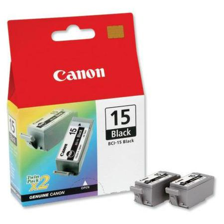 Canon BCI-15BK Black Original Twin Pack Ink Cartridge