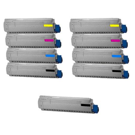 Clickinks 44059109//10/11/12 2 Full Sets + 1 EXTRA Black Remanufactured Toner Cartridge