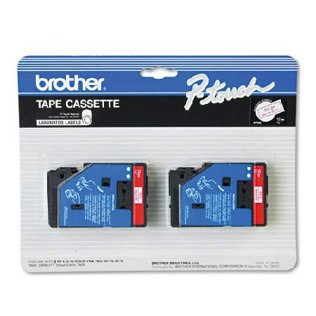 Brother TC21 Original P-Touch Label Tape - 1/2 x 25.2 ft (12mm x 7.7m) Red on White 2-Pack