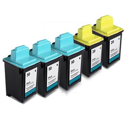 Clickinks No.50/No.20 2 Full Sets + 1 EXTRA Black Remanufactured Ink
