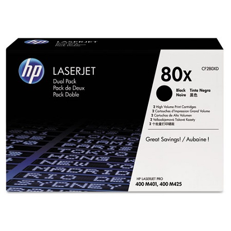 HP 80X Black Original High Capacity Toner Cartridges (Twin Pack)