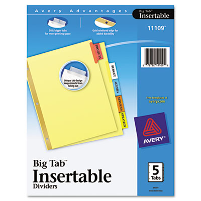 Avery Worksaver Big Tab Reinforced Dividers  Multicolor Tabs  Five-Tab  Letter  Buff