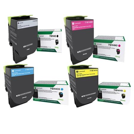 Lexmark 71B1HK0/HC0/HM0/HY0 Full Set Original High Yield Return Program Toner Cartridges