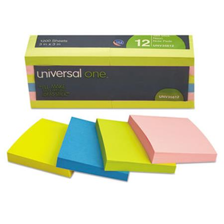 Universal Self-Stick Notes  3 x 3  4 Neon Colors  12 100-Sheet Pads/Pack