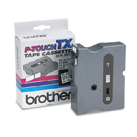 Brother TX2411 Original P-Touch Label Tape -  3/4 x 50 ft (18mm x 15m) Black on White