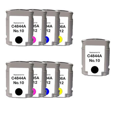 Compatible Multipack HP 10/12BK/C/M/Y  2 Full set + 1 EXTRA Black Ink Cartridges