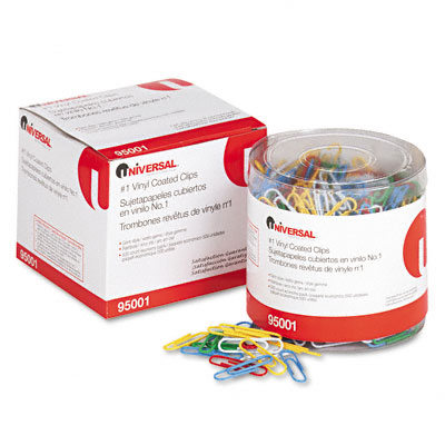 Paper Clips Vinyl Coated Wire No. 1 Assorted Colors 500/Pack